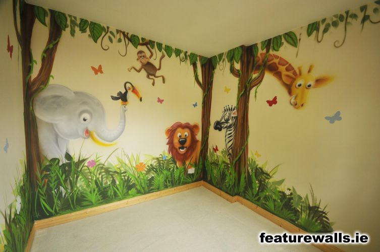 Nursery murals toddler murals baby rooms baby designs for Baby jungle mural