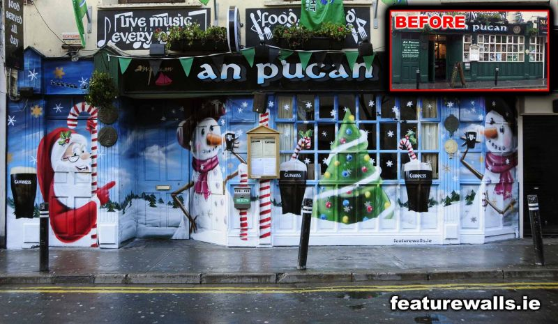 Irish window painting service corporate window painting for Christmas window mural