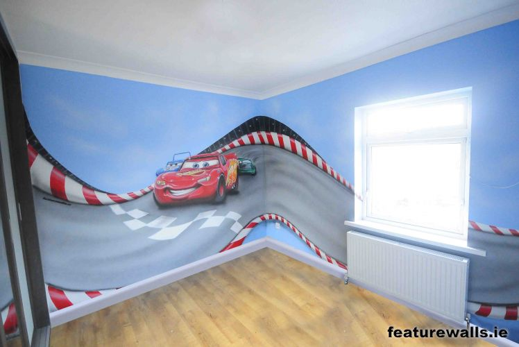 Disney cars wall mural car interior design for Disney pixar cars mural wallpaper