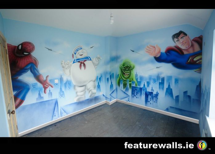 Attractive GHOSTBUSTERS, SUPERMAN AND SPIDERMAN MURAL