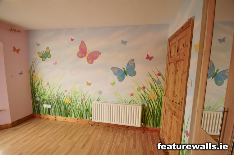Fairy princess girls bedrooms fairytale mural pink for Butterfly wall mural