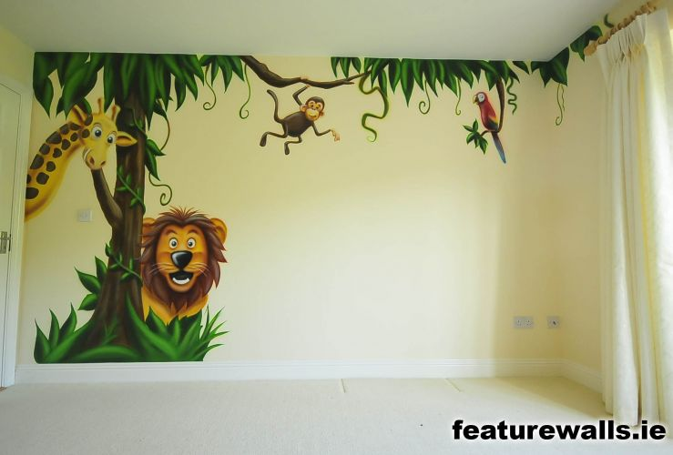 Nursery murals toddler murals baby rooms baby designs for Baby jungle safari wall mural