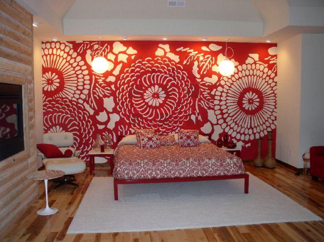 Stencilling hand painted bespoke interior design for Eastern bedroom designs
