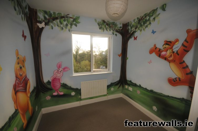 Fairy princess girls bedrooms fairytale mural pink for Children s room mural