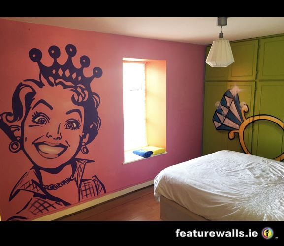 Stencilling hand painted bespoke interior design for A mural is painted on a