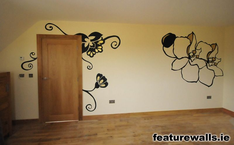 wall painting design. Black and gold floral design mural stencilling  hand painted bespoke interior specialist