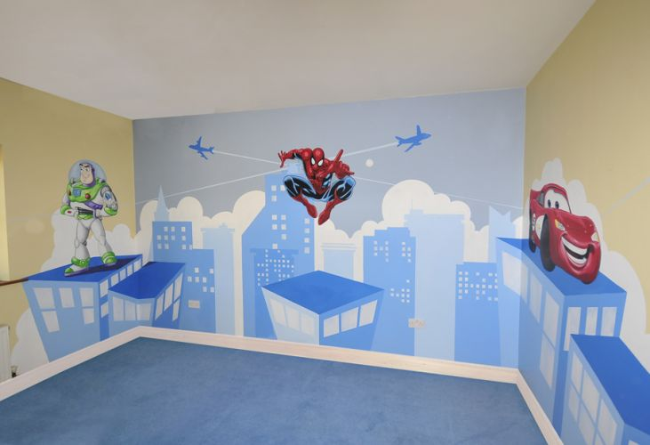 kids murals childrens rooms decorating kids rooms super hero rh featurewalls ie Spider-Man Themed Room spiderman childrens room