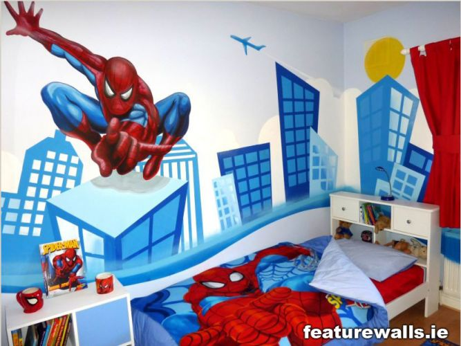 Kids murals childrens rooms decorating kids rooms super for Spiderman kids room